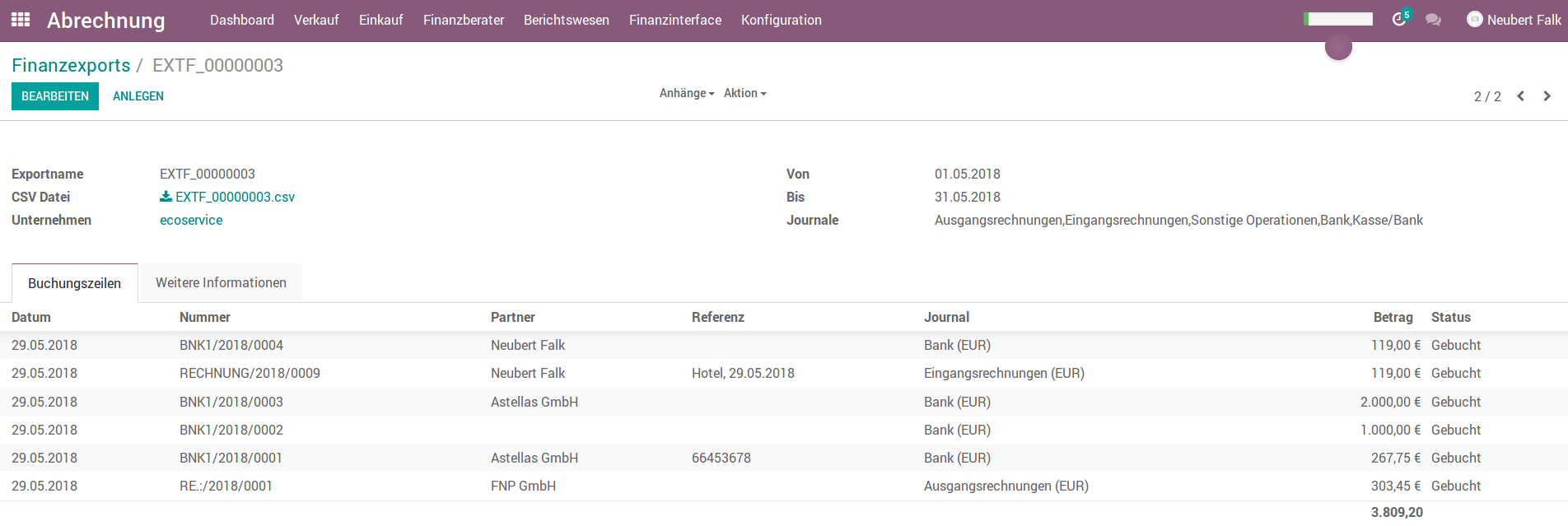 Odoo Datev Export